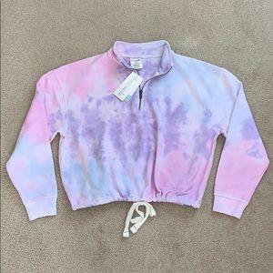 Pink tie dye crop half zip sweater NWT